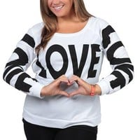 plus size long sleeve french terry top with love screen