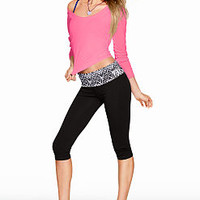 Foldover Yoga Crop Legging - PINK - Victoria's Secret