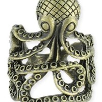 Gold Antiqued Octopus Ring - Unique Vintage - Prom dresses, retro dresses, retro swimsuits.