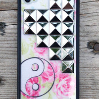 Yin Yang Floral Silver Studded Pyramid iPhone 4/4s Case | Wildflower cases