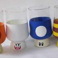 Mario Mushroom Drinking Glasses Hand Painted by BasementInvaders
