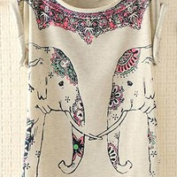 Cute Elephants Print Shirt with Flora Details TGV631 from topsales