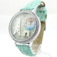 ZLCY Mint Green Polymer Clay Eiffel Tower Watch for Women