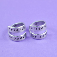 friends by heart / sisters by soul - Spiral Rings Set, Hand Stamped, Handwritten Font, Shiny Aluminum, Friendship, BFF