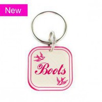 Red & Pink Fancy Bird Design Square Pet Tag - Happy Tags