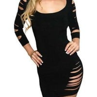 Sexy Cut Out Barracuda Quarter Sleeves Club Dress - Medium:Amazon:Clothing