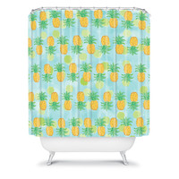 DENY Designs Home Accessories | Lisa Argyropoulos Pineapples And Polka Dots Shower Curtain