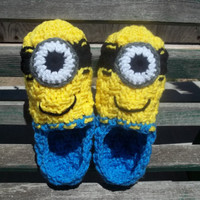 "Women's Crocheted Dispicable Me Minion Slippers fits 8.0"" - 9.5"" .   Special Size Orders Welcome"