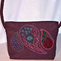Purple Purse with Embroidered Paisley Ladybug Flower Soft Ultra Suede