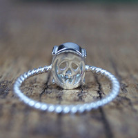 Skull Memento Mori Ring, silver and mint quartz