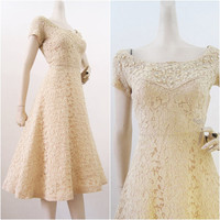 50s Dress Vintage Lace Rhinestone and Pearl Party Dress S