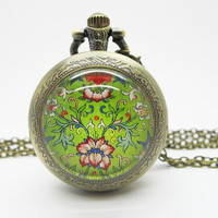 Vintage Glass Pocket Watch Necklace / Vintage Flower Necklace PW003