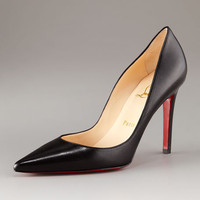 Christian Louboutin Pointed-Toe Black Leather Pump - Neiman Marcus