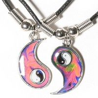 Mood Yin and Yang Friendship Necklace Set:Amazon:Jewelry