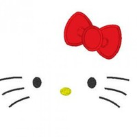 Kitty Face Outline Design With Applique Bow For Embroidery Machines