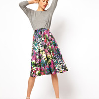 ASOS | ASOS Midi Skirt in Digital Floral Print at ASOS