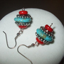 Modern Twist on the Southwest - Turquoise &amp; Coral Earrings | DesignsByAmyB - Jewelry on ArtFire