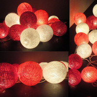 20 Mixed Coral-Red Tone Handmade Cotton Balls Fairy String Lights Party Patio Wedding Floor Table or Hanging Gift Home Decoration