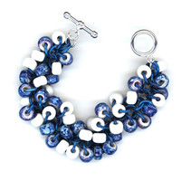 Chunky Bracelet, Floppy Beads White and Blue