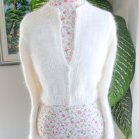 Ready to ship - One of a kind SOFT Handmade WHITE Kate Middleton Angora Bolero hand knitted 100 percent angora/ bridal bolero/ Size Medium