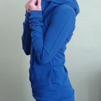 hooded top with pockets Royal Blue by joclothing on Etsy