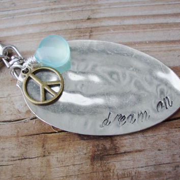Dream On upcycled silver plated teaspoon keychain with aqua chalcedony stone and brass peace sign charm