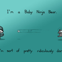 Baby Ninja Bears Are Dangerous 12x18 Art Print