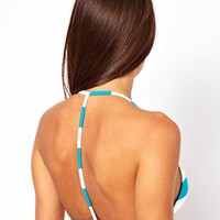 ASOS Mix and Match Stripe Moulded Cross Back Triangle Bikini Top