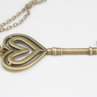 Double Heart Key Necklace - Antiqued Brass Vintage Style Skeleton Key Necklace - KR21
