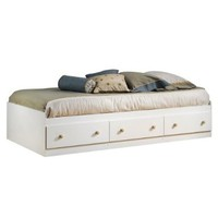 South Shore Furniture Summertime Collection Twin Mates Bed, Pure White and Natural Maple:Amazon:Home & Kitchen