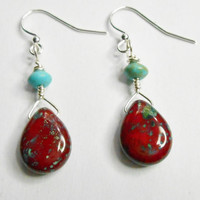 Picasso Czech Opaque Red Glass Teardrop Wire Wrapped Earrings