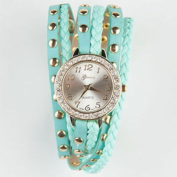 Studded Wrap Watch Mint One Size For Women 21495552301