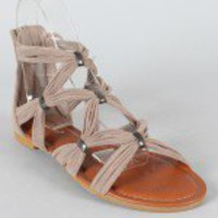 Bamboo Eartha-04 Strappy Open Toe Flat Sandal