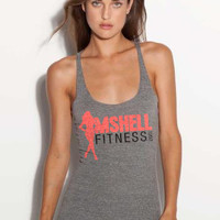 SMALL - Mshell Fitness - Tri-Blend Racer Back Tank - in Heather Grey