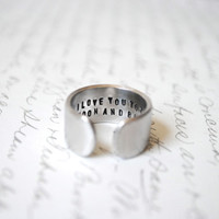 I Love You To The Moon & Back Secret Message Cuff Ring