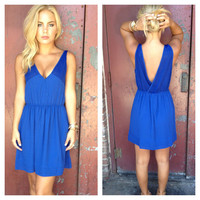 Royal Blue V-Back Dress with Pockets