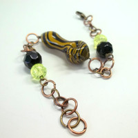 Glass Pipe Bead Chainmaille Bracelet, Made by Ed DuBick and Princess Tunacorn, Boro Ballers, READY to SHIP, Hand Blown Glass