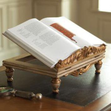 John-Richard Collection - Carved Wooden Bookstand - Horchow