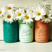Dorm Decor - Aruba - Office / Desk Accessories - Fall Home Decor - Painted Mason Jar Vase - Shabby Chic - Emerald