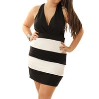 Black White Trendy Color Blocked Open Back Plus Size Dress