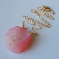 Druzy Necklace In Pink by 443Jewelry on Etsy