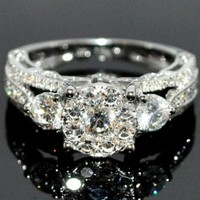 Bridal 3 Stone Style Vintage 2ctw Diamond Engagement Wedding Ring 14K White Gold:Amazon:Jewelry