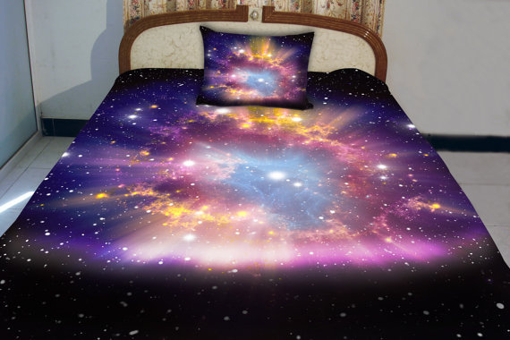 Galaxy quilt cover galaxy duvet galaxy from tbedding on etsy for Outer space bedding