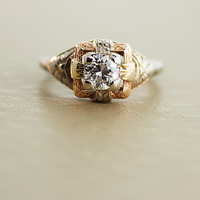 Antique Diamond Ring - 18k Yellow, White, and Rose Gold Ring