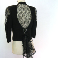 vintage 80s Shirt / Lace Blazer /  Tuxedo Fitted Corset Jacket / Sheer Black Lace w. Ruffle
