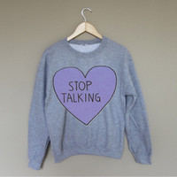 Stop Talking - White Crewneck Sweatshirt /
