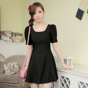 Korean Design Elegant Puff Sleeve Short Dress Black