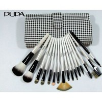 PUPA 16 Pcs White Black Squares Makeup Brush Set &amp; Case