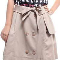 Ribbon Trench Skirt/Cape â?? Beige
