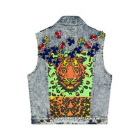 Embroidery Tiger Denim Gilet